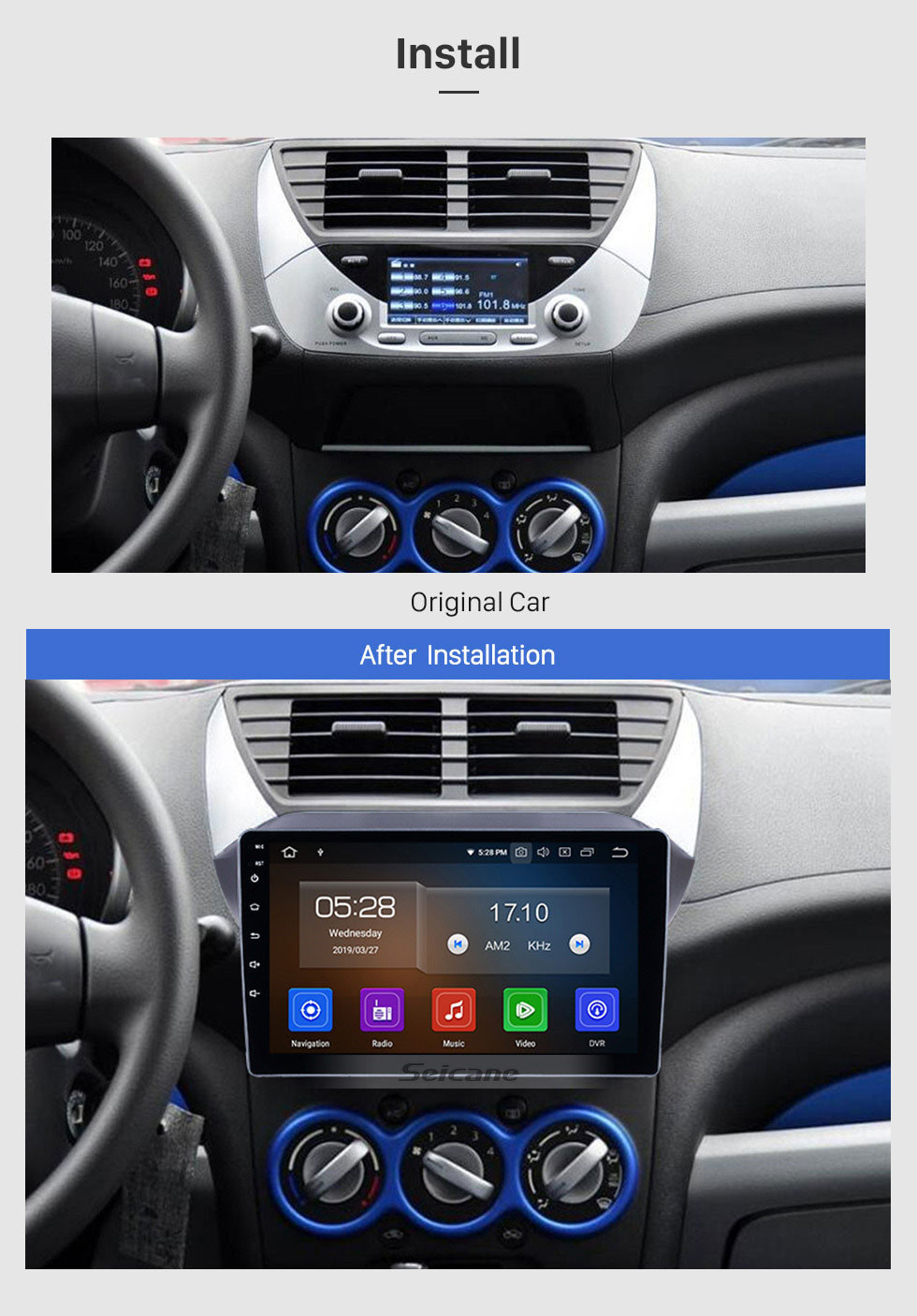 Seicane Android 9.0 HD Touchscreen 9-Zoll-Radio für 2009-2016 Suzuki Alto mit GPS-Navigation Bluetooth Wifi-Musik USB-Spiegel-Link-Unterstützung DVD 1080P Video Carplay TPMS 4G-Modul Digital TV