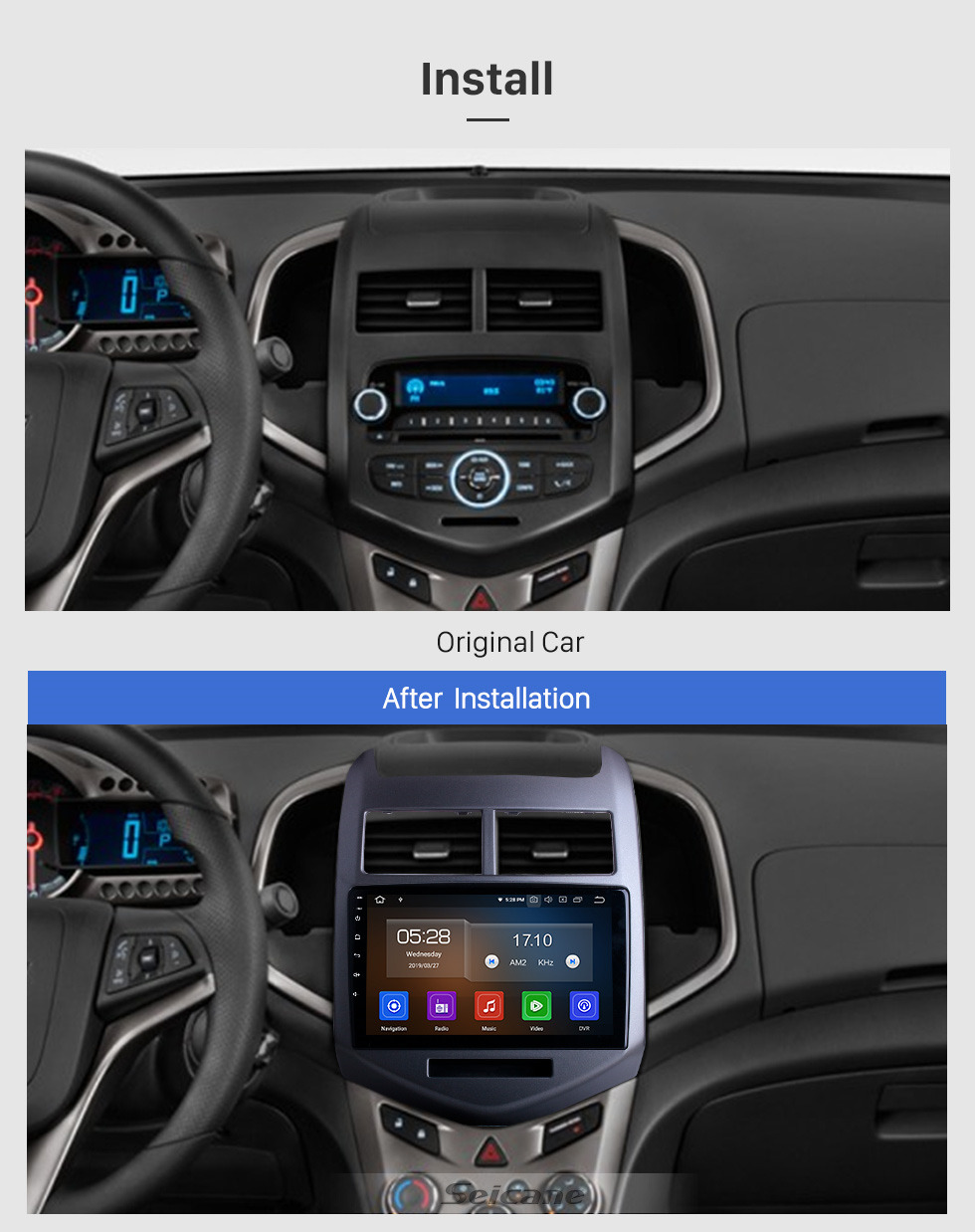 Seicane 2010 2011 2012 2013  Chevy Chevrolet AVEO Android 9.0 Radio GPS Navigation Bluetooth HD TouchScreen WiFi Spiegel-Verbindungs-Rückansicht Unterstützung DVR 1080P Video OBD