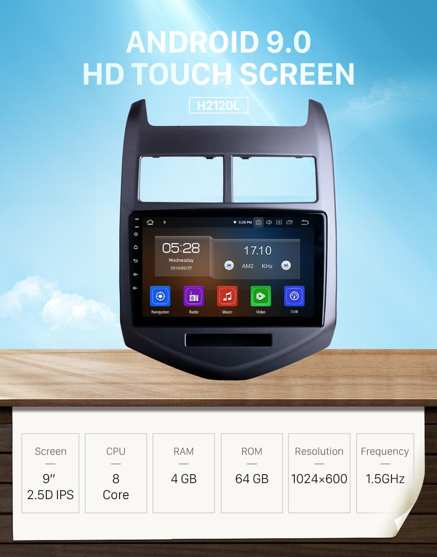 Seicane 2010-2013 Chevy Chevrolet AVEO Автомобильный DVD-плеер Android 8.0 Радио GPS-навигация Bluetooth HD TouchScreen WiFi Зеркальная связь Поддержка заднего вида DVR 1080P Video OBD