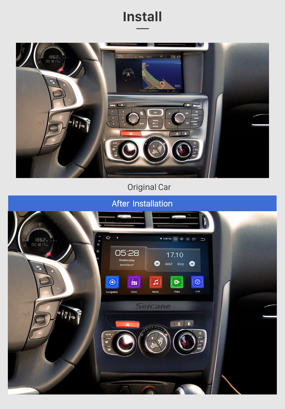 Seicane 2013 2014 2015 2016 CITROEN C4L LHD 10.1 inch HD Touchscreen Android 9.0 Bluetooth Radio with GPS Navigation System Mirror link Rearview Camera Steering Wheel Control 4G WIFI USB Carplay