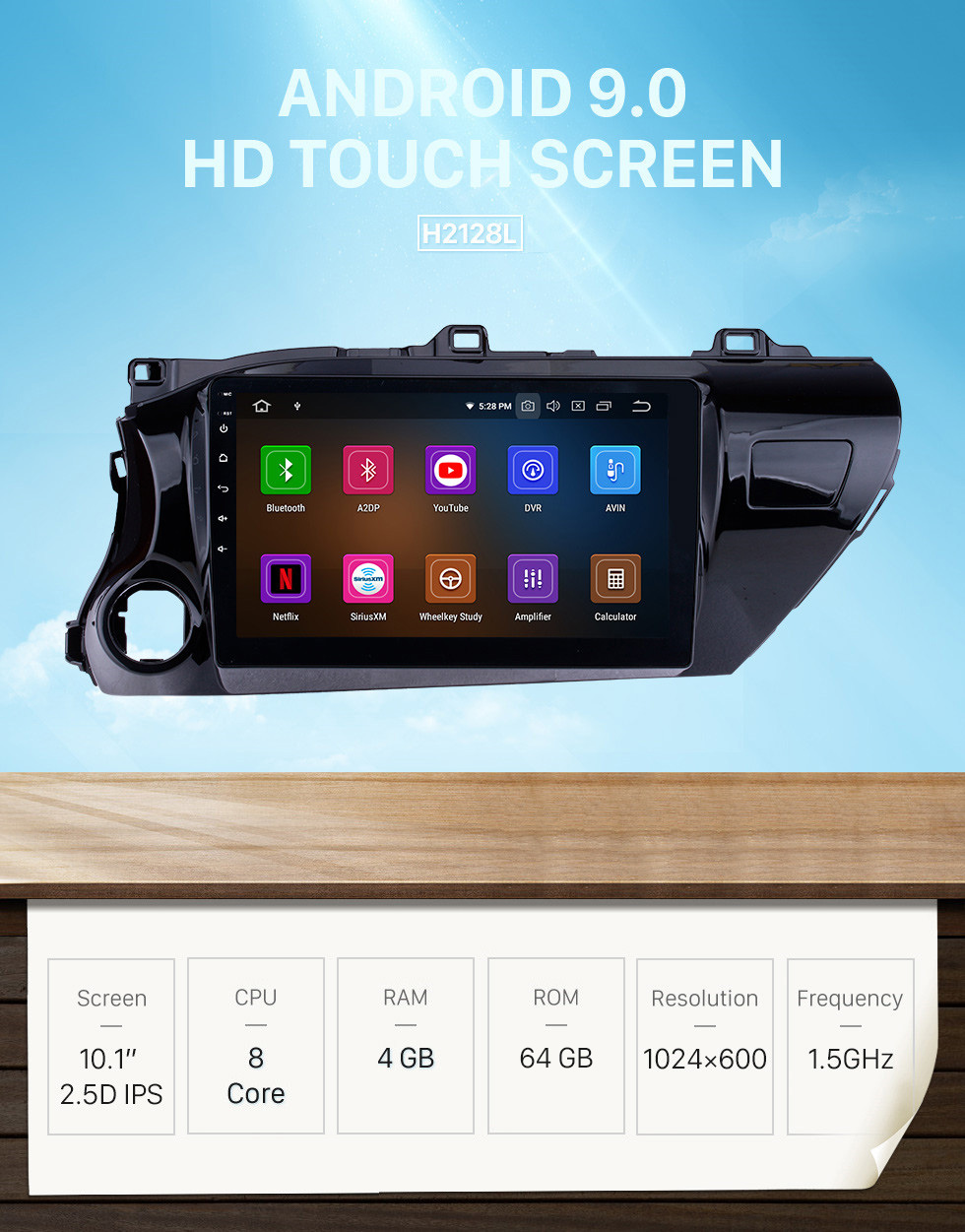 Seicane 10.1 inch 2016-2018 Toyota Hilux LHD Touchscreen Android 9.0 GPS Navigation Radio Bluetooth Carplay Music AUX support Backup camera 1080P Video
