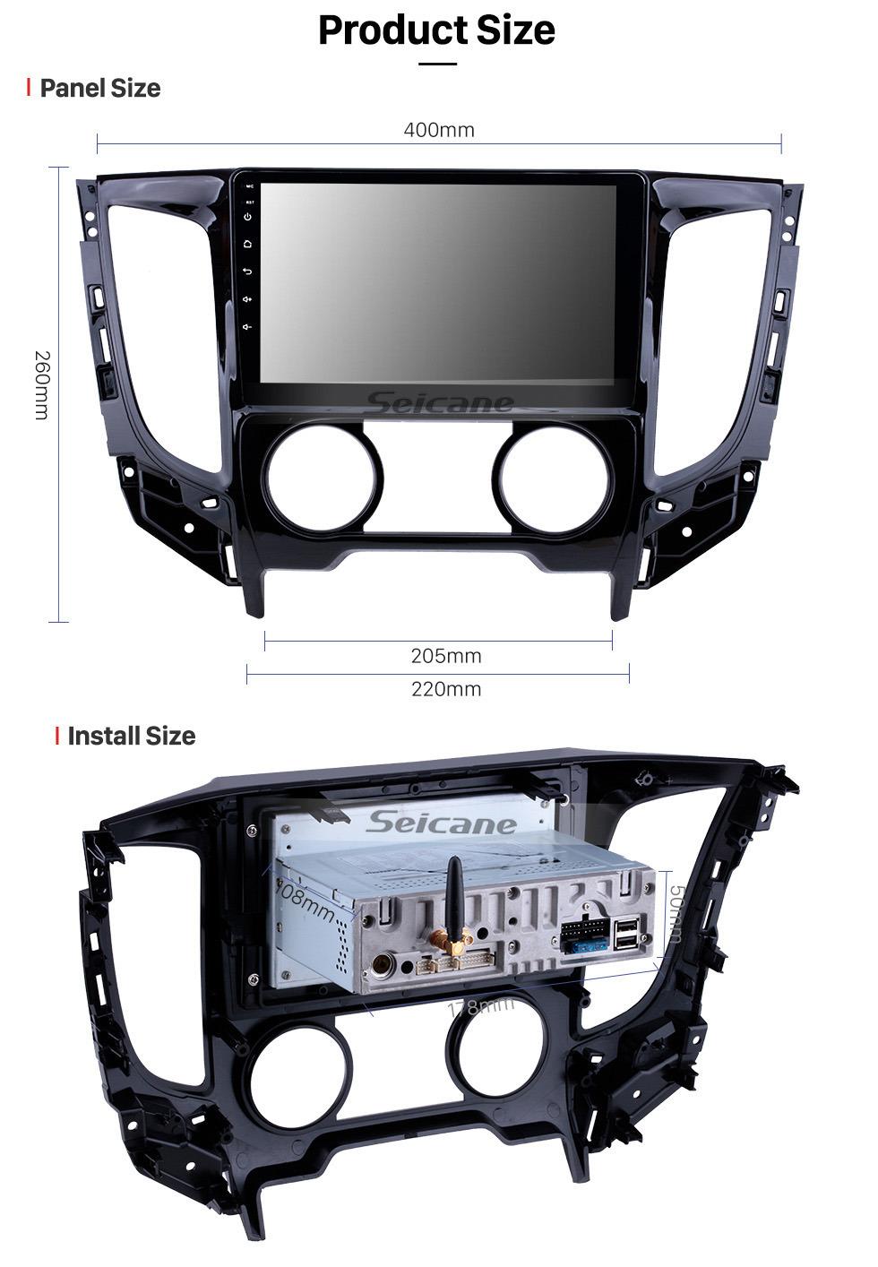 Seicane 9 polegadas Android 9.0 2015 Mitsubishi TRITON Manual A / C HD Touchscreen GPS de Navegação Rádio com USB Carplay Bluetooth WIFI suporte 4G DVD Player