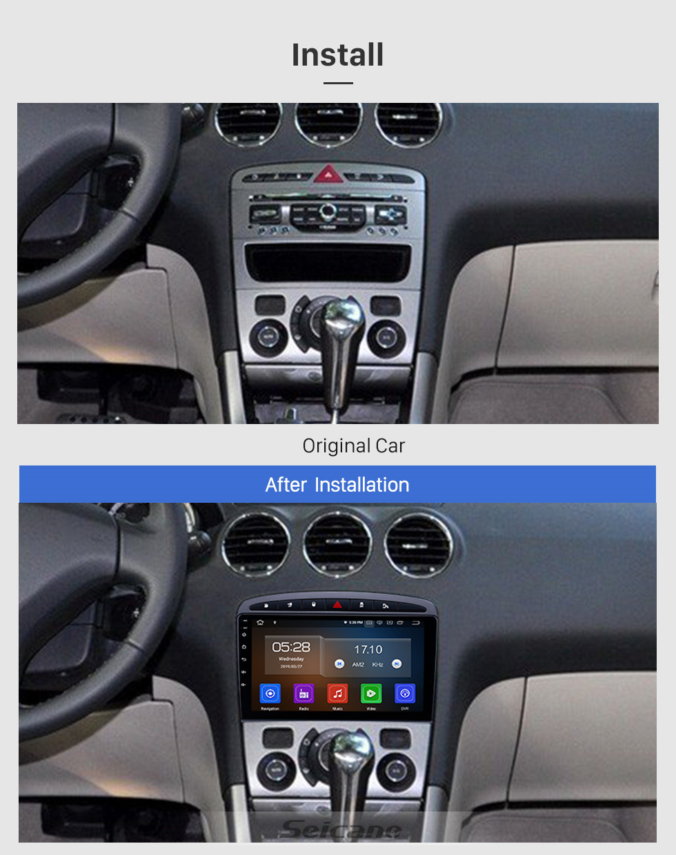 Seicane 2010 2011 Peugeot 308 408 Android 9.0 9 inch Bluetooth Radio GPS Navi HD Touchscreen Stereo USB Mirror Link Aux SWC support DVD 4G WIFI DVR Carplay