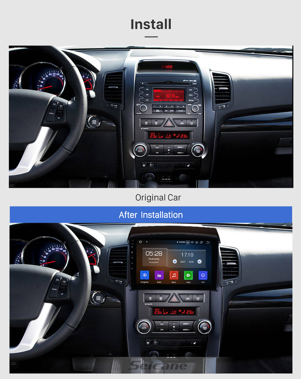 Seicane 10.1 inch 2009 2010 2011 2012 KIA Sorento Android 9.0 GPS Navigation Radio Bluetooth 4G WIFI Rearview Camera USB DVD Player TPMS Backup Camera 1080P