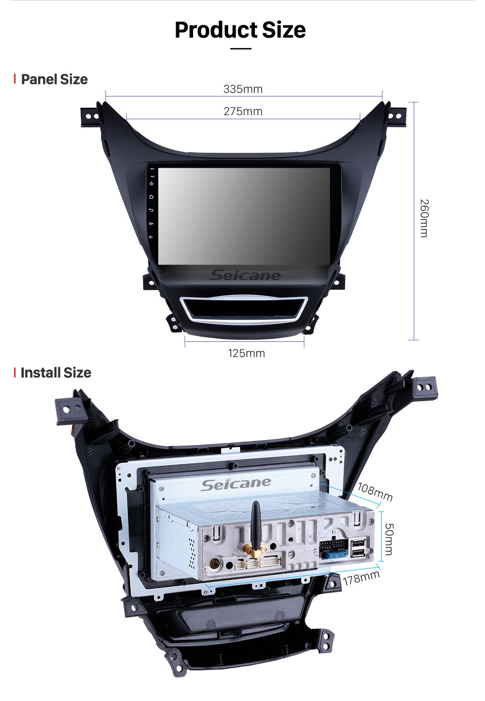 Seicane OEM 9 inch 2012 2013 Hyundai Elantra Android 9.0 Radio GPS  navigation system with HD 1024*600 touch screen Bluetooth OBD2 DVR Rearview camera TV 1080P Video 3G WIFI DVD player Steering Wheel Control USB Mirror link