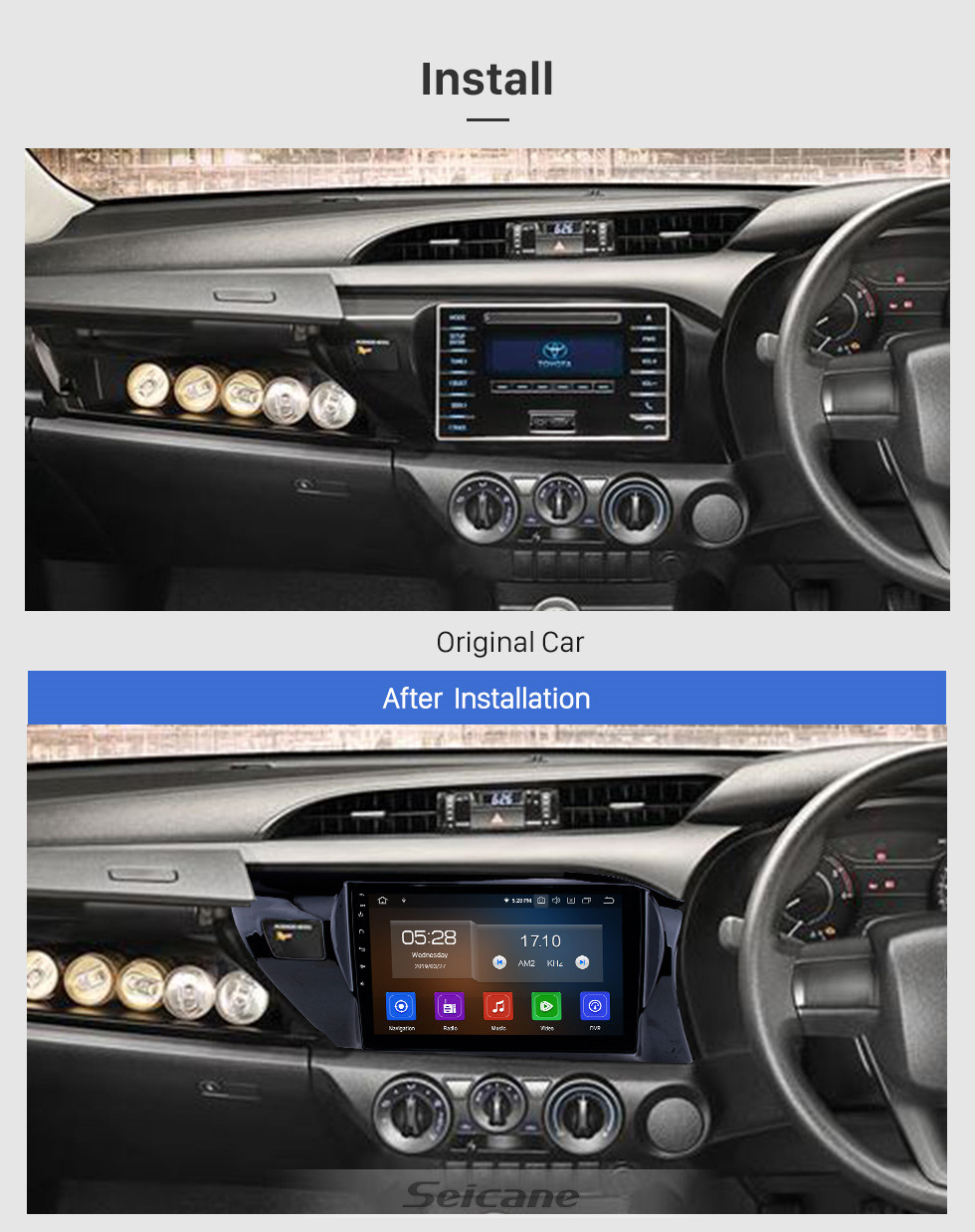 Seicane 10.1 inch 2016-2018 Toyota Hilux RHD Android 9.0 GPS Navigation Radio Bluetooth HD Touchscreen AUX Carplay Music support 1080P Video Digital TV