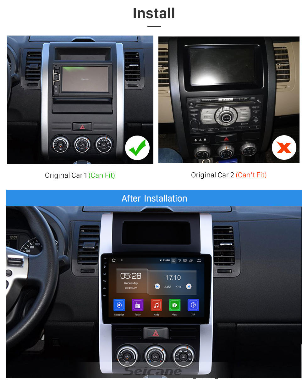 Seicane 10.1 pouces 2008-2012 Nissan X-Trail XTrail X Trail T32 T31 Qashqai Dongfeng MX6 Android 9.0 Radio de navigation GPS Bluetooth à écran tactile Support Carplay TPMS