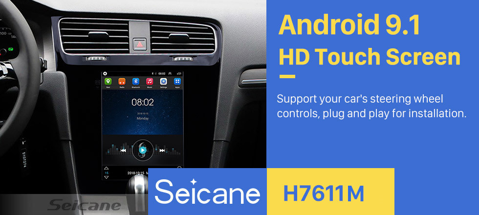 Seicane 9.7 inch 2014 2015 2016 2017 2018 VW Volkswagen Golf 7 Android 9.1 Radio GPS Navigation HD touchscreen WiFi Bluetooth Music Mirror Link Backup Camera Steering Wheel Control 1080P Video