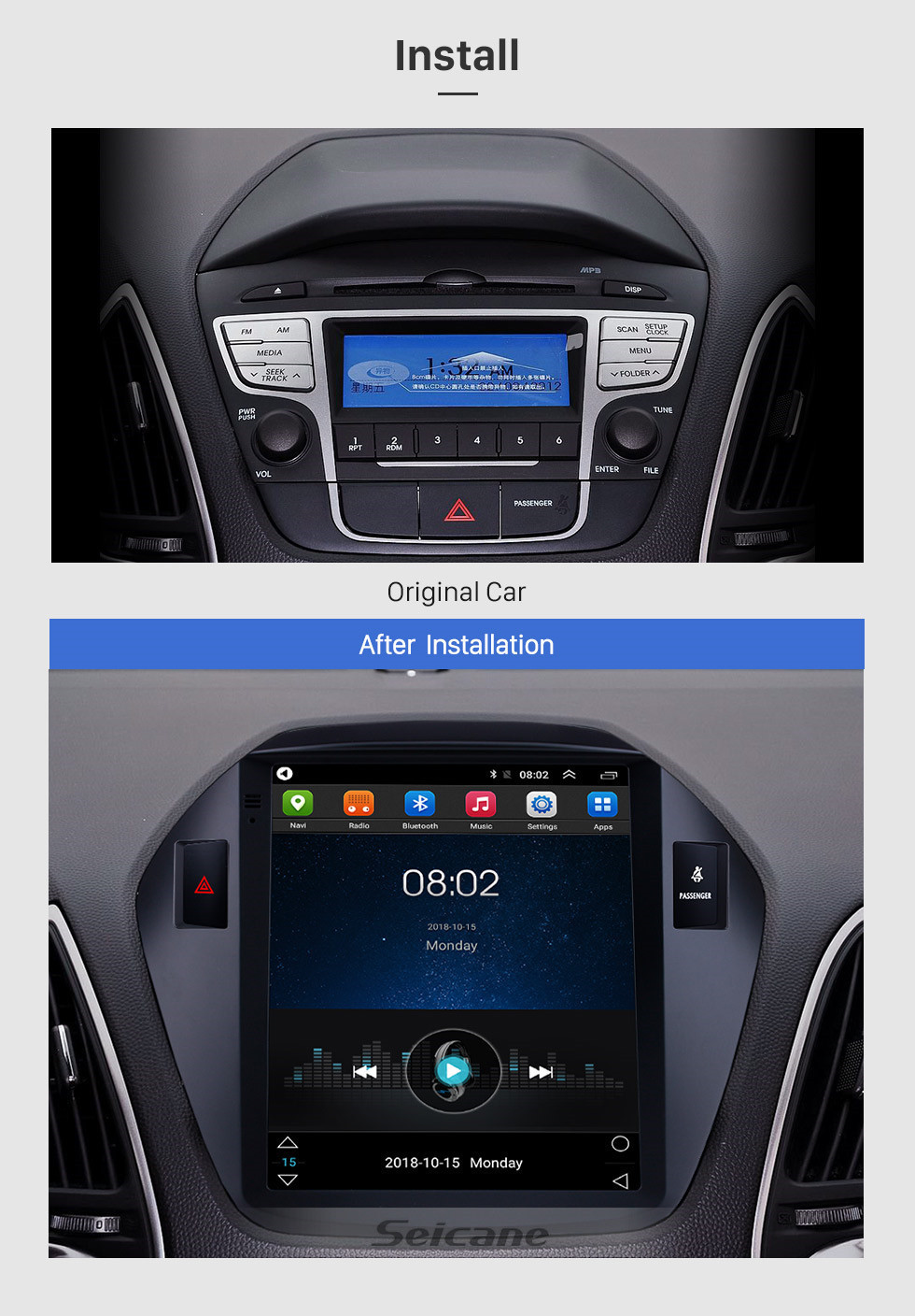 Seicane 2010 2011 2012 2013 2014 2015 Hyundai IX35 HD Touchscreen 9.7 inch Android 9.1 Car Stereo GPS Navigation Radio Bluetooth phone Music Wifi support DVR OBD2 Rearview Camera SWC DVD 4G