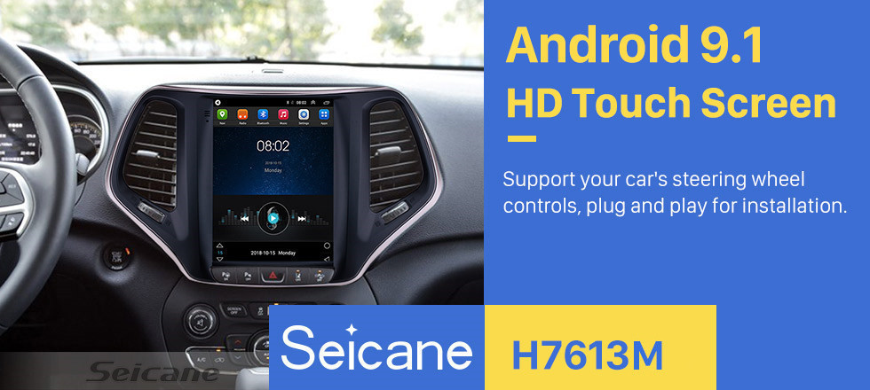Seicane 9.7 inch HD Touch Screen 2016 2017 2018 Jeep Cherokee Android 9.1 Radio GPS Navigation Bluetooth Music USB WIFI Audio system Support DVR OBD2 TPMS Digital TV