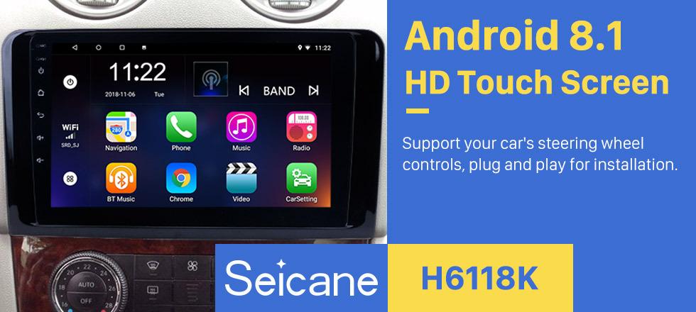 Seicane 9 Inch 2005-2012 Mercedes Benz ML CLASS W164 ML350 ML430 ML450 ML500 Android 8.1 Capacitive Touch Screen Radio GPS Navigation system Bluetooth TPMS DVR OBD II Rear camera AUX USB SD 3G WiFi
