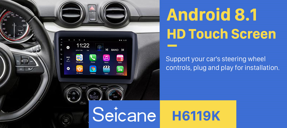 Seicane OEM 9 inch Android 8.1 HD Touchscreen Bluetooth Radio for 2017 Suzuki Swift with GPS Navigation USB FM auto stereo Wifi AUX support DVR TPMS Backup Camera OBD2 SWC