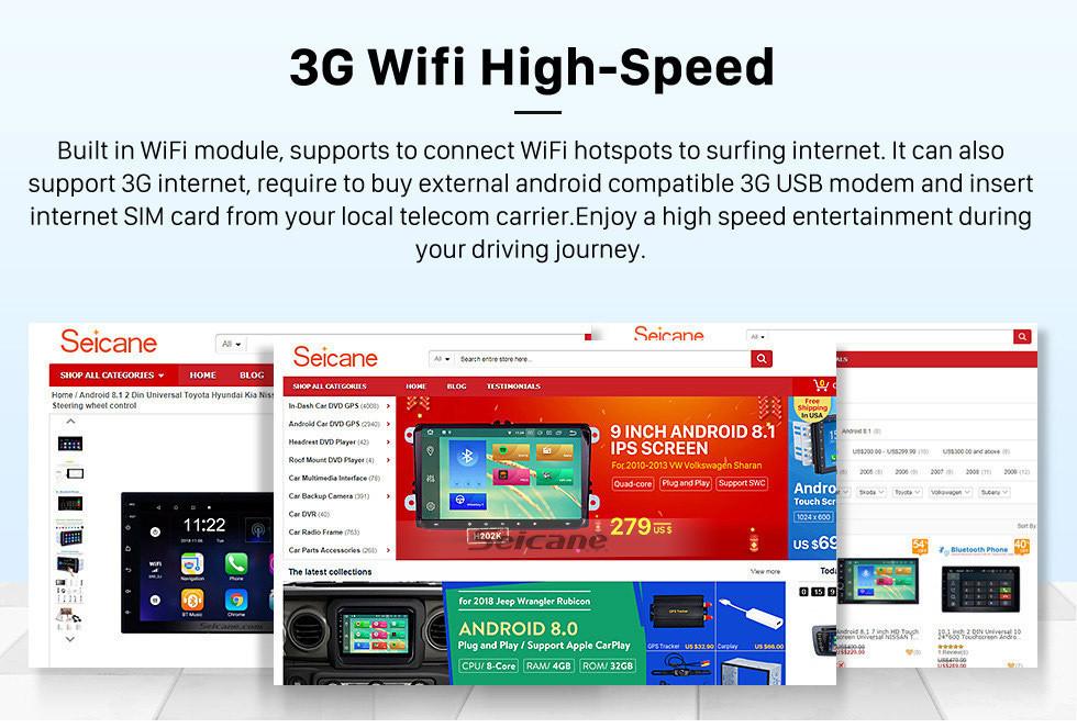 Seicane 10,1 pouces Android 8.1 HD écran tactile 2012 CITROEN C4 GPS de radio de navigation avec support Bluetooth WIFI Commande de volant de surveillance caméra de recul