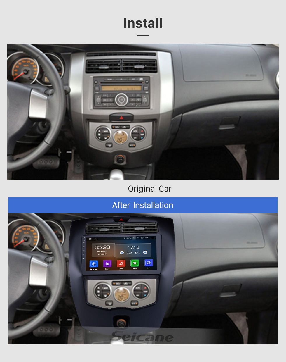Seicane 10.1 inch Android 9.0 Radio for 2013-2016 Nissan Livina LHD with GPS Navigation HD Touchscreen Bluetooth Carplay support Rearview camera DAB+