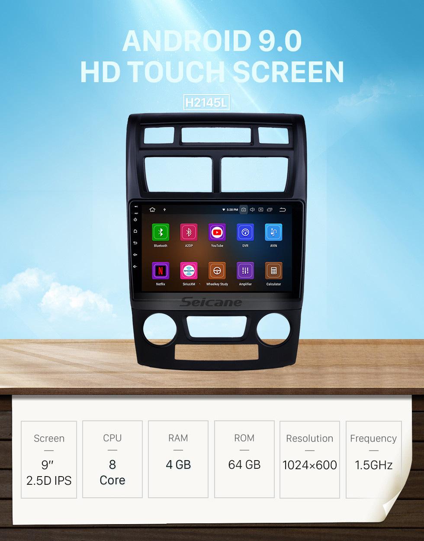 Seicane 2007-2017 Kia Sportage Manual A / C Android 9.0 9 polegada Navegação GPS Rádio Bluetooth HD Touchscreen USB Carplay Música suporte Controle de Volante