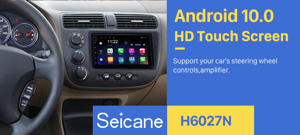 Seicane Android 8.1 HD Touchscreen Car Radio Head Unit For 2001-2005 Honda Civic GPS Navigation Bluetooth WIFI Support Mirror Link USB DVR 1080P Video Steering Wheel Control