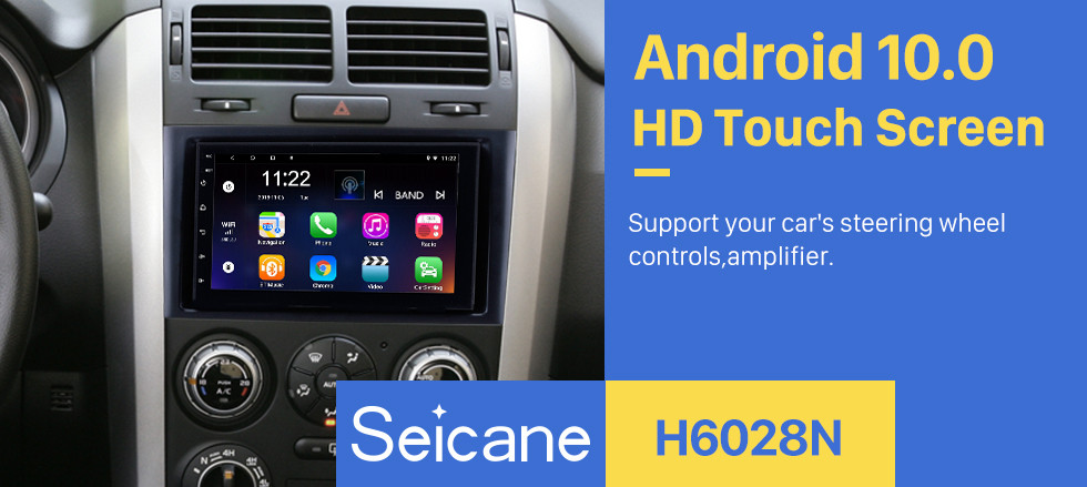 Seicane 7 Inch Aftermarket Android 10.0 Touch Screen GPS Navigation system For 2005-2015 SUZUKI GRAND VITARA Support Bluetooth Radio TPMS DVR OBD II Rear camera AUX Headrest Monitor Control USB  HD 1080P Video 3G WiFi