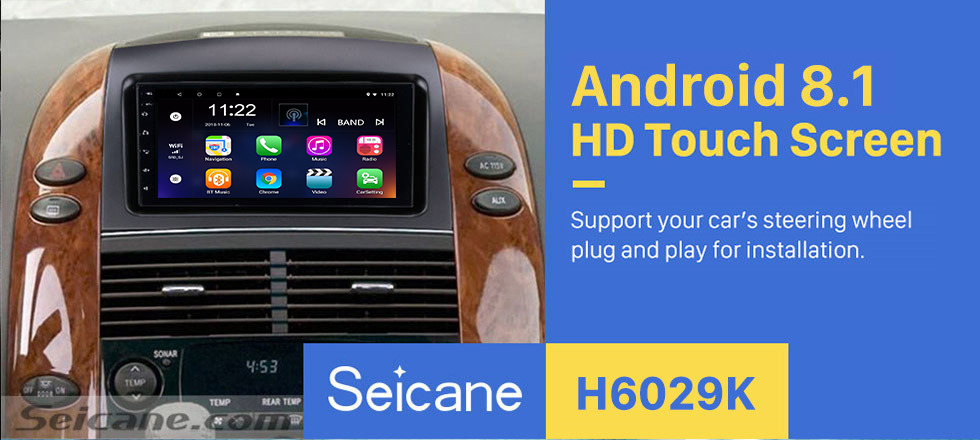 Seicane Android 8.1 7 Inch HD Touchscreen 2 Din Radio Head Unit For 2004-2010 Toyota Sienna GPS Navigation System Bluetooth Phone WIFI Support 1080P Video USB Steering Wheel Control Backup Camera