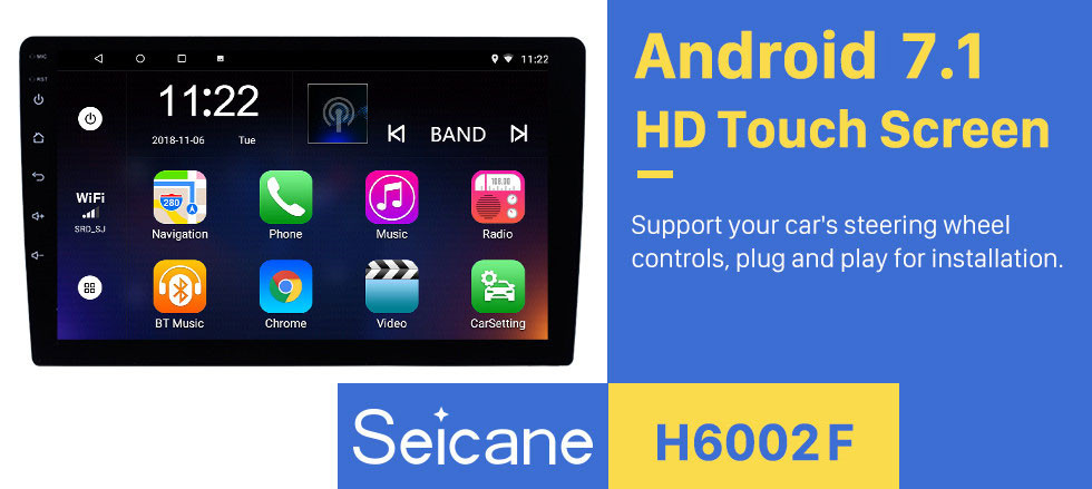 Seicane HD Touchscreen Android 7.1 9 inch Universal GPS Navigation Radio with Bluetooth WIFI Support 1080P Video Steering Wheel Control Mirror Link