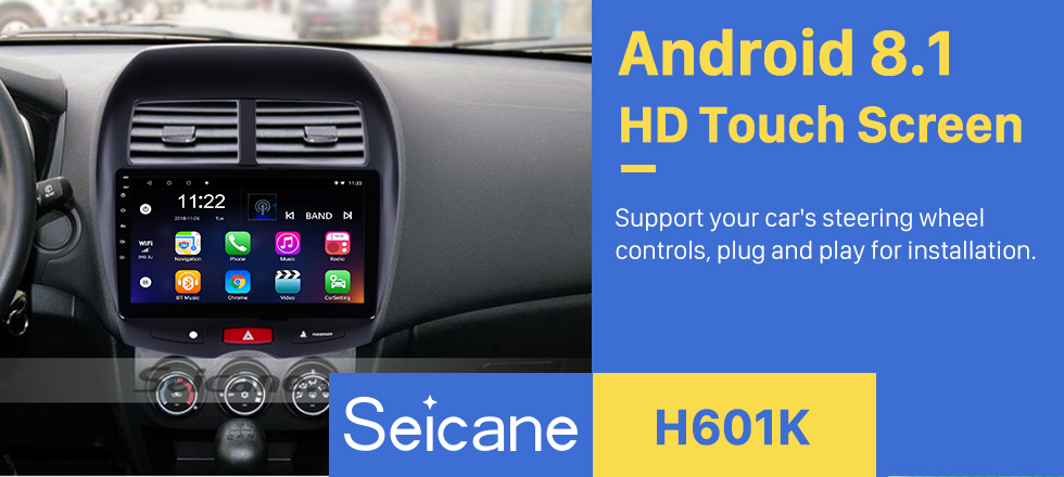 Seicane OEM Android 8.1 Radio DVD player GPS navigation system for 2010-2013 Mitsubishi ASX with Mirror link touch screen OBD2 DVR Rearview camera TV 1080P Video 3G WIFI Steering Wheel Control Bluetooth USB SD