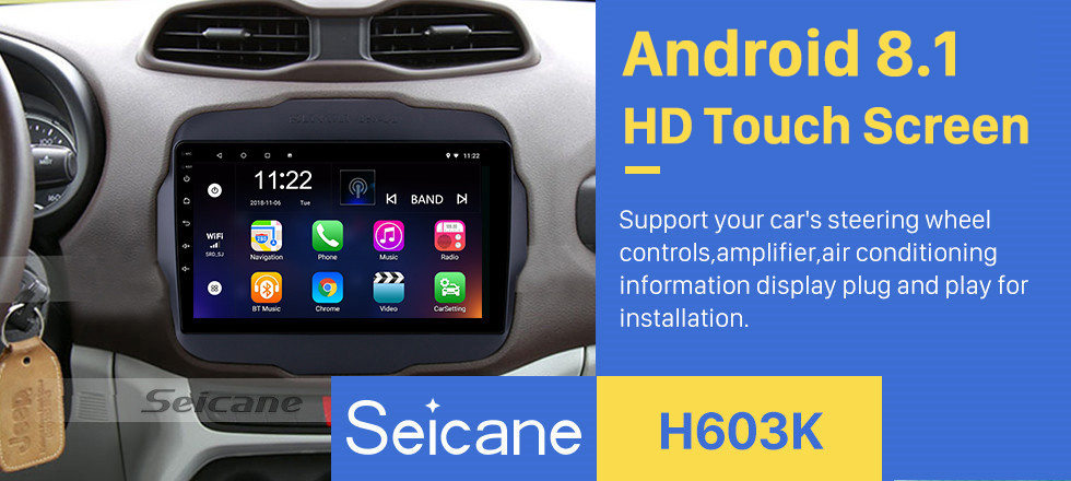 Seicane 2016 Jeep Renegade 9 inch Touchscreen Android 8.1 Radio GPS Navigation system with USB Bluetooth WIFI 1080P Aux Mirror Link Steering wheel control