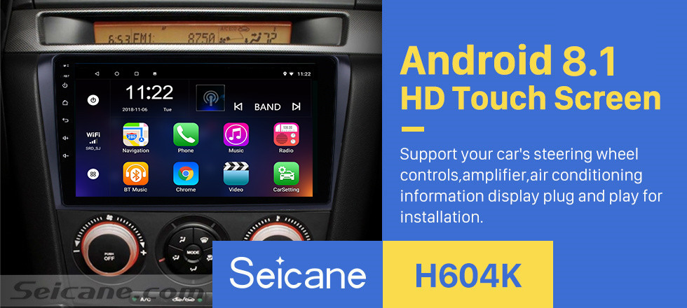 Seicane 9 inch Android 8.1 2004-2009 Mazda 3 GPS Navigation Car Radio with Bluetooth 3G WIFI USB Touch Screen Rearview Camera Mirror Link OBD2