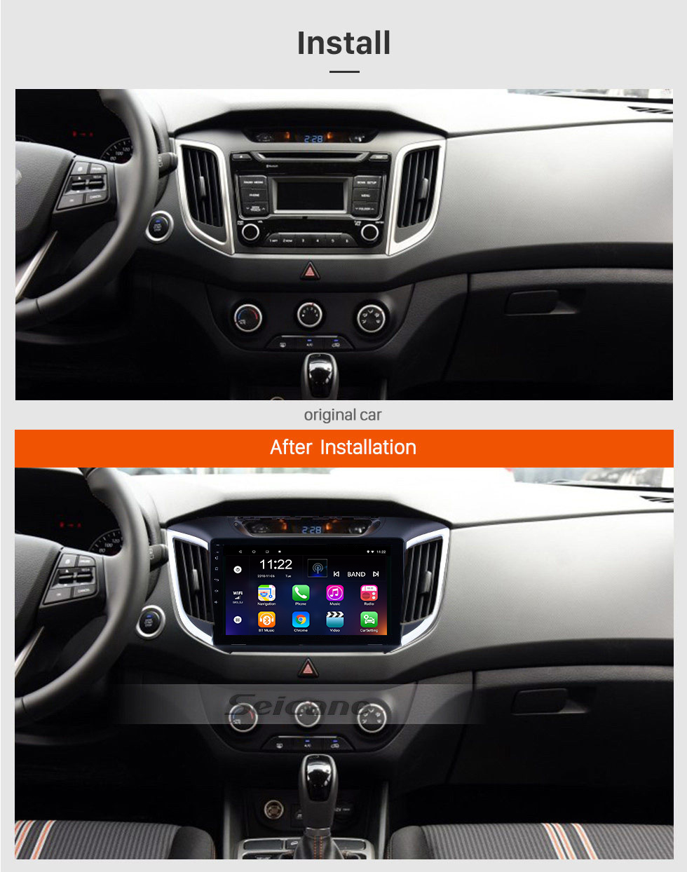 Seicane 2014 2015 Hyundai IX25 Android 8.1 10.1 inch HD touchscreen Radio GPS Navi USB Bluetooth WIFI OBD2 Mirror Link Rearview camera