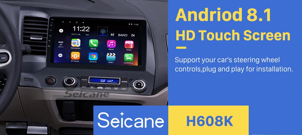 Seicane 10.1 inch 1024*600 HD Touch Screen Android 8.1 GPS Navigation Radio for 2006-2011 Honda Civic(LHD) with Bluetooth WIFI OBD2 USB Audio Aux 1080P Rearview Camera
