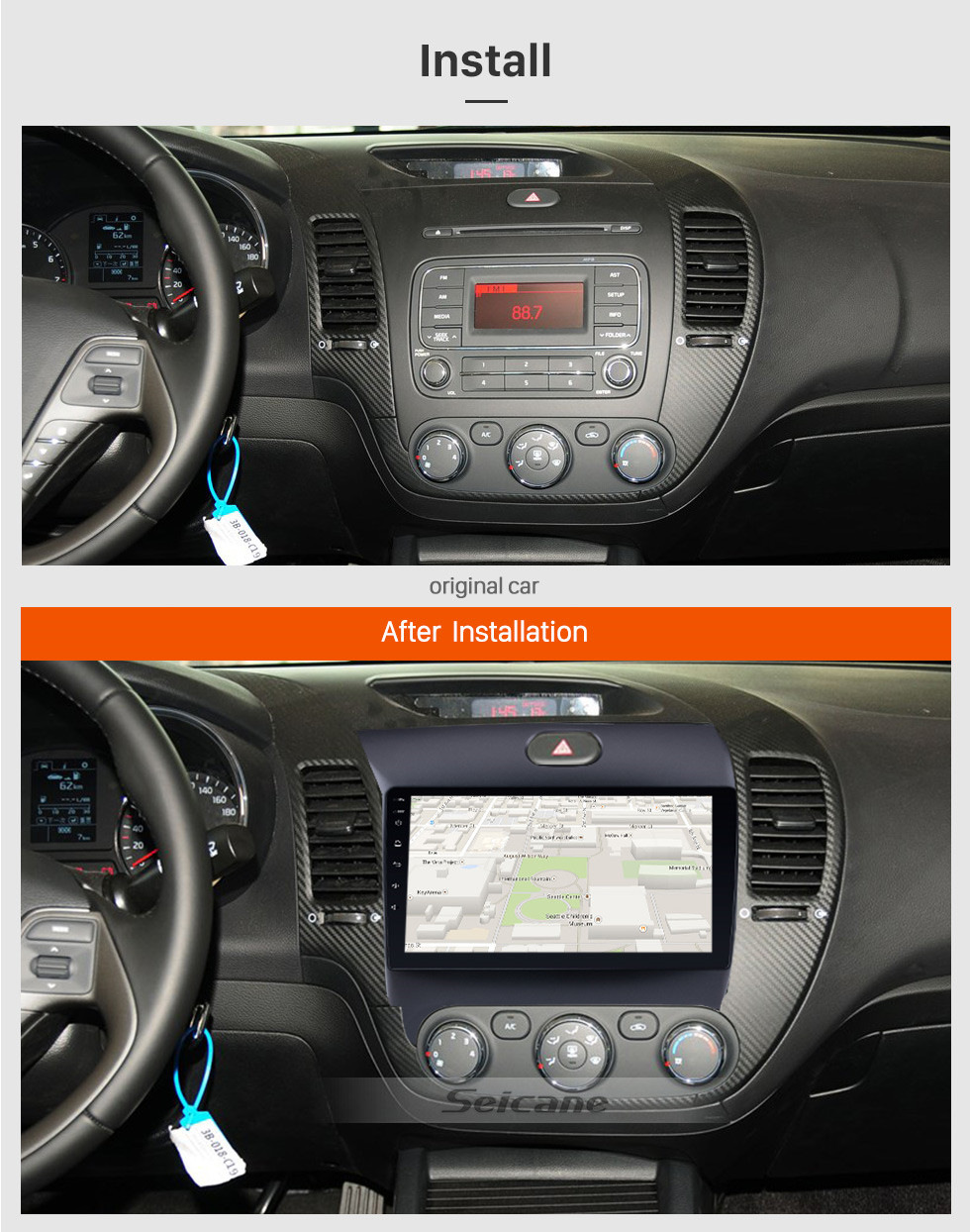 Seicane 9 Inch All-in-One Android 8.1 GPS Navigation system For 2013 2014 2015 2016 KIA K3 CERATO FORTE with Touch Screen TPMS DVR OBD II Rear camera AUX USB SD Steering Wheel Control 3G WiFi Video Radio Bluetooth