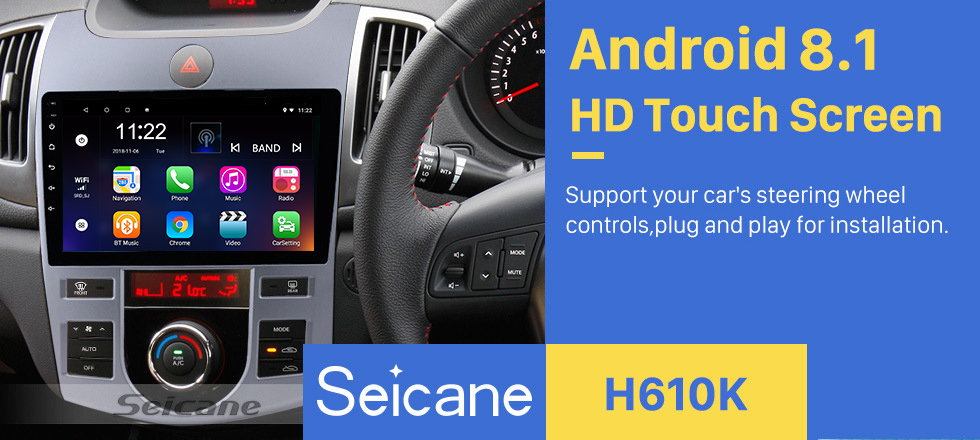 Seicane 9 inch Android 8.1 GPS Navigation HD Touchscreen Radio for 2008-2012 KIA Forte(AT) with Mirror Link WIFI Bluetooth OBD2 Rearview Camera 1080P Video