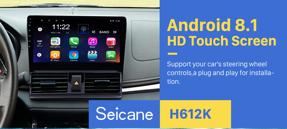 Seicane 2013 2014 2015 2016 Toyota Vios 10.1 inch HD 1024*600 Touchscreen Android 8.1 Radio GPS Navigation system with Bluetooth WIFI 1080P Video DVR Mirror Link