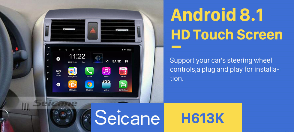 Seicane 9 inch 2007 2008 2009 2010 Toyota OLD Corolla Android 8.1 Bluetooth Radio GPS Navigation Head unit Support WIFI 1080P Video Backup Camera Audio system DVR OBD2