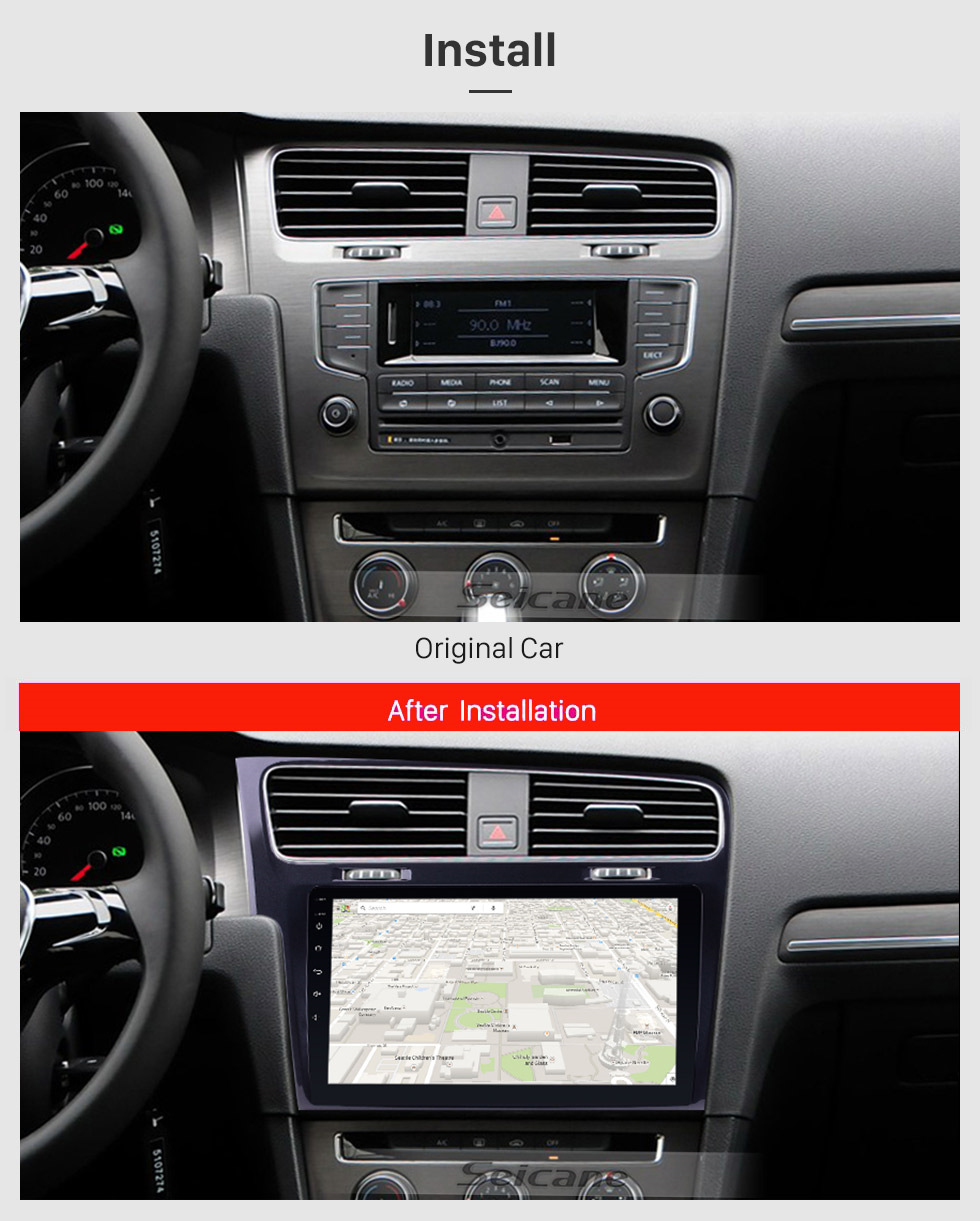 Seicane 10.1 inch 1024*600 HD Touch Screen Android 8.1 Radio for 2013 2014 2015 VW Volkswagen Golf 7 GPS Navigation system with 3G WIFI Bluetooth Music USB Mirror Link RearView Camera 1080P Video OBD2