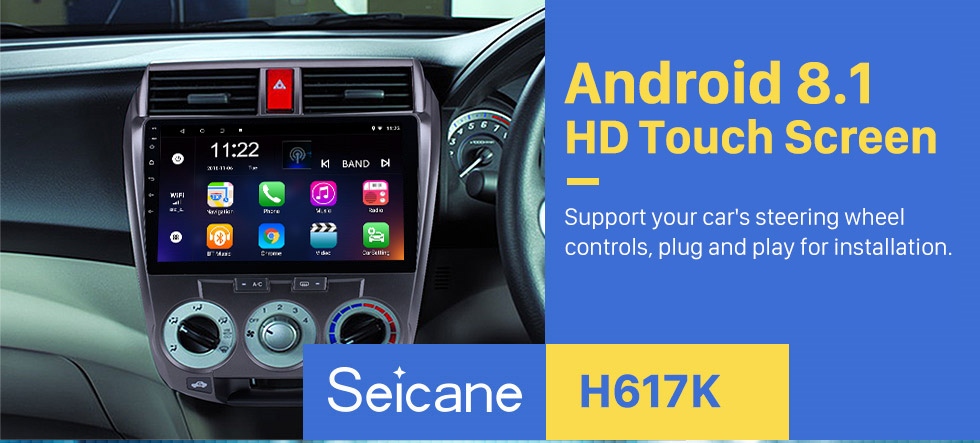 Seicane 2006-2013 Honda CITY HD 1024*600 Touchscreen Android 8.1 Radio Car Stereo with GPS Navigation Bluetooth USB WIFI OBD2 1080P Rearview camera Mirror link