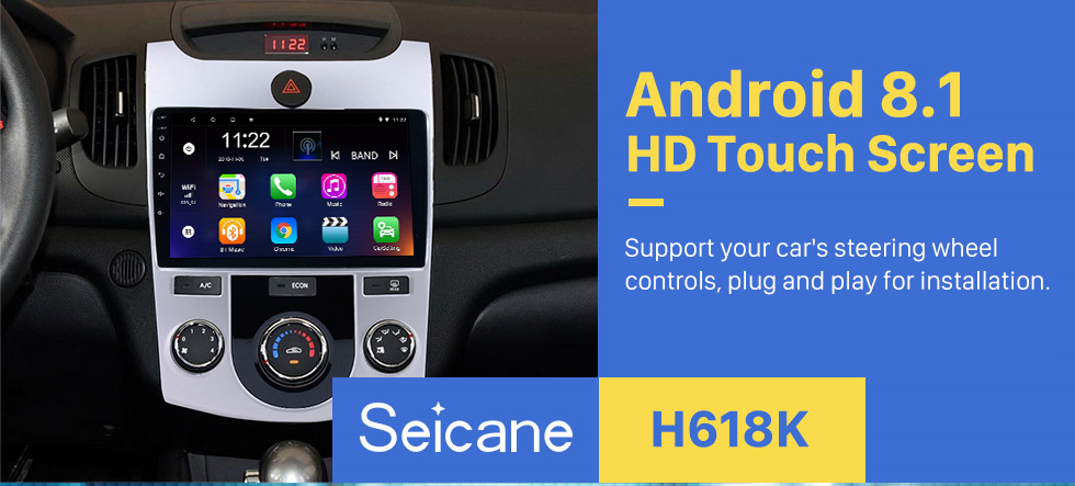 Seicane 9 inch HD Touchscreen Android 8.1 Radio GPS Navi for 2008-2012 KIA Forte(MT) with Bluetooth Music WIFI USB 1080P Video Mirror Link