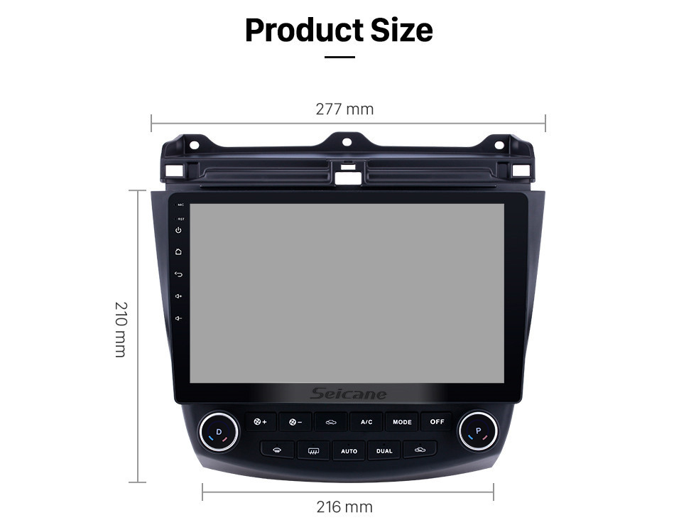 Seicane 10.1 Inch 1024*600 Android 8.1 2003-2007 Honda Accord 7 Car Stereo GPS Navigation Head Unit with 1080P Video Bluetooth Music Autoradio Steering Wheel Control Rearview Camera DVR 3G Wifi