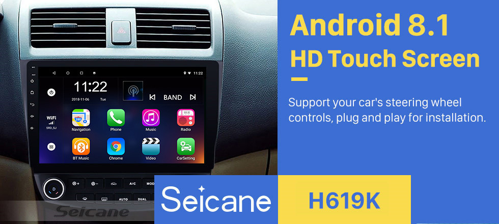 Seicane 10.1 inch Android 8.1 HD 1024*600 Touch Screen Car Radio For 2003 2004 2005 2006 2007 Honda Accord 7 GPS Navigation Bluetooth Music WIFI USB Mirror Link Head unit Support DVR OBD2 Steering Wheel Control Backup Camera