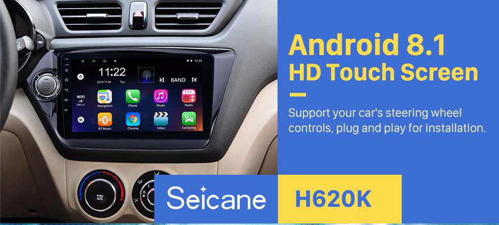 Seicane OEM Android 8.1 DVD player GPS navigation system for 2011-2015 KIA RIO with Bluetooth  Radio HD touch screen  OBD2 DVR TV 1080P Video 3G WIFI Steering Wheel Control USB SD backup camera Mirror link