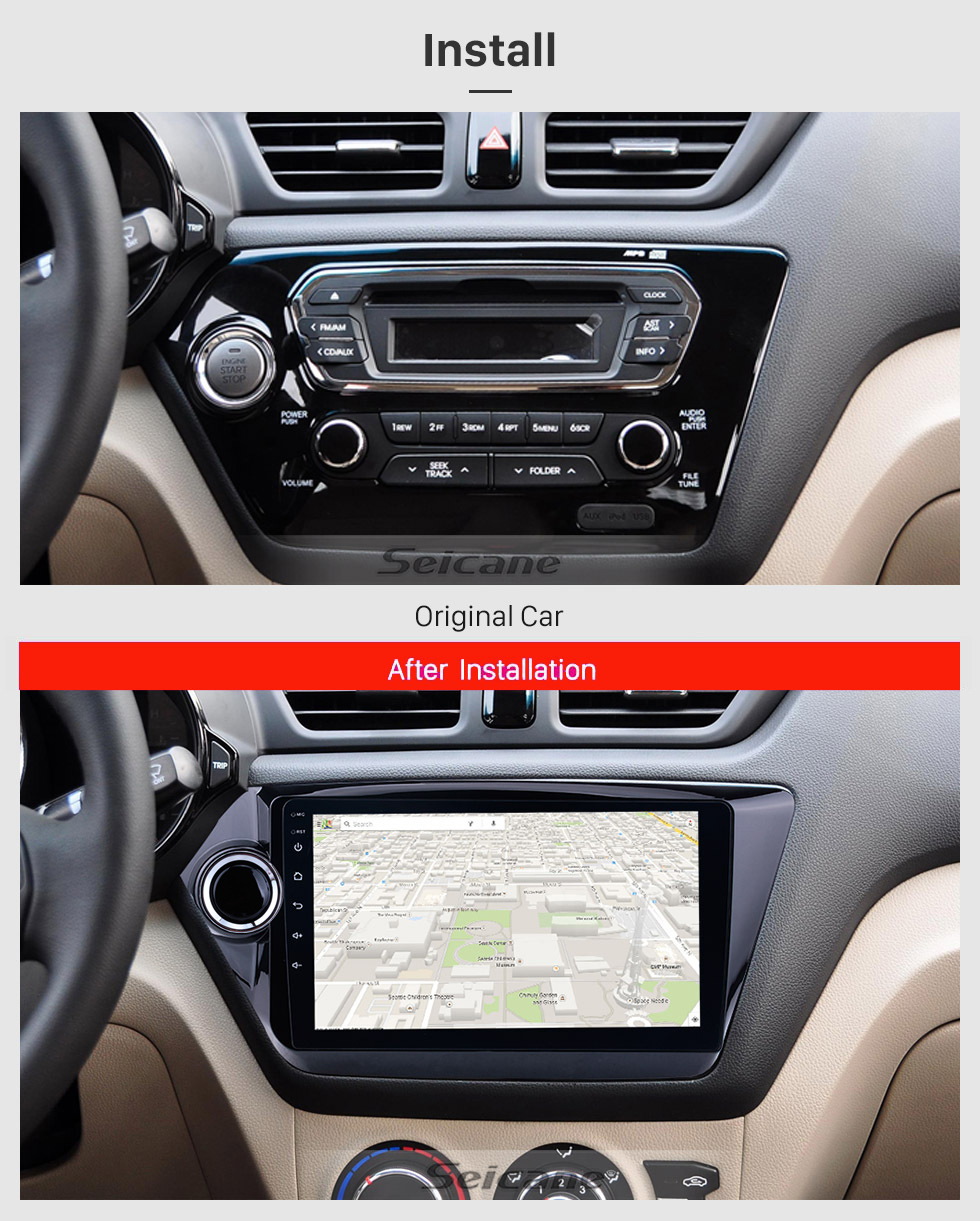 Seicane 9 inch Android 8.1 Touchscreen 2011-2015 KIA K2 RIO Radio GPS Navigation System with DVR Bluetooth Steering Wheel Control Backup Camera Mirror Link OBD2 Digital TV