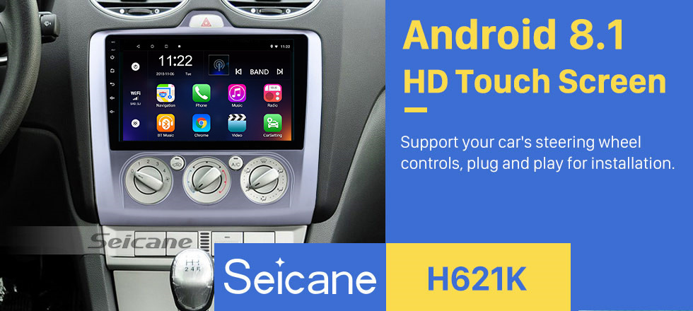 Seicane 2004-2011 Ford Focus EXI MT 2 3 Mk2/Mk3 Manual AC 9 inch HD Touchscreen Android 8.1 Radio GPS Navigation 3G WIFI USB OBD2 RDS Mirror Link Bluetooth Music Steering Wheel Control Backup Camera