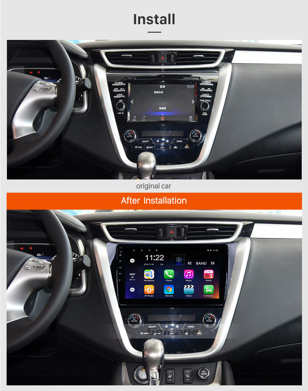 Seicane 10.1 inch HD 1024*600 Touchscreen 2015 2016 2017 Nissan Murano Android 8.1 GPS Navigation System With OBDII Rear Camera AUX Steering Wheel Control USB 1080P 3G WiFi Capacitive Mirror Link TPMS DVR Bluetooth