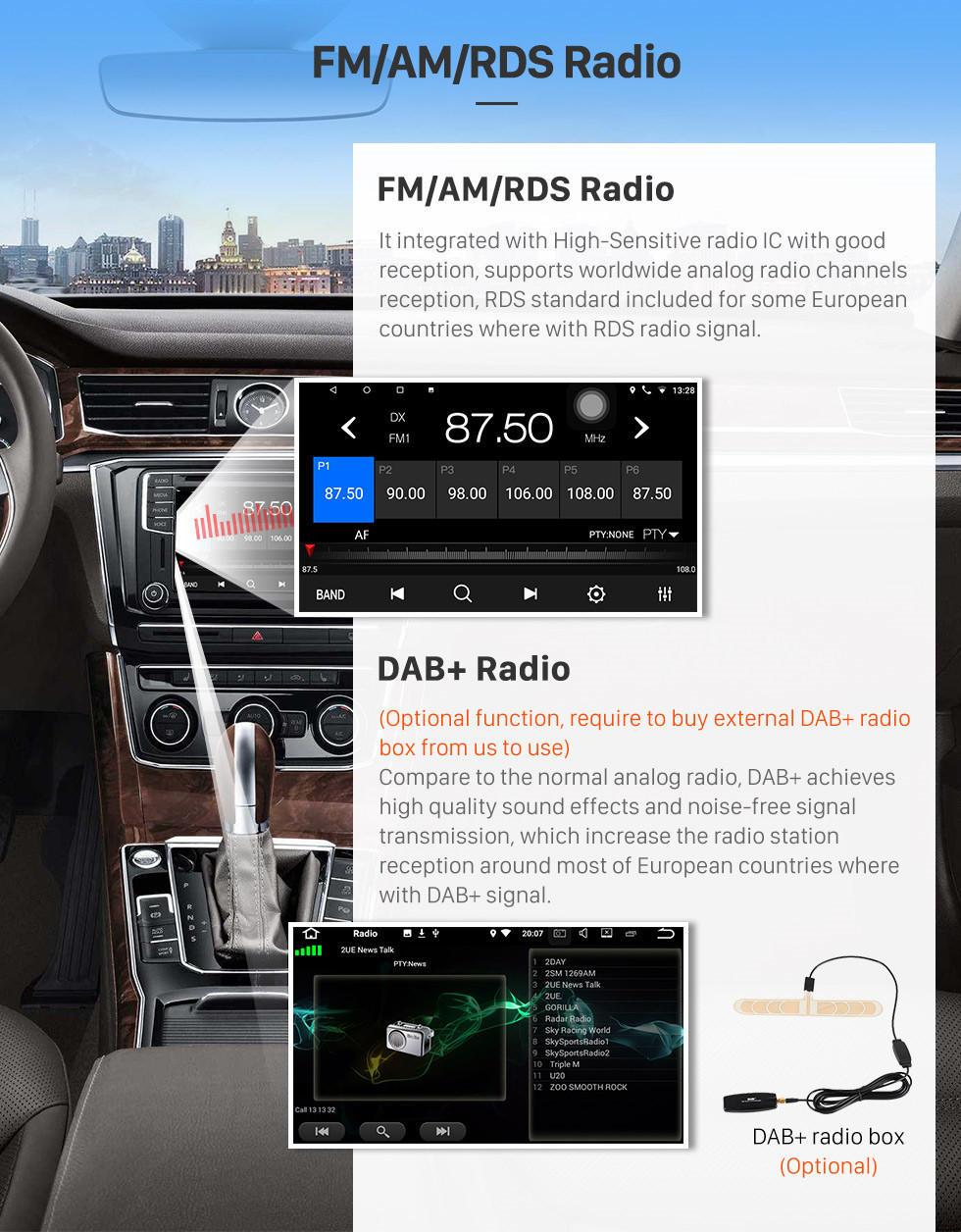Seicane 8 Inch 2009-2014 Toyota ALPHARD Android 8.1 Radio GPS Navigation system with 3G WiFi Capacitive Touch Screen TPMS DVR OBD II Rear camera AUX Steering Wheel Control USB Bluetooth HD 1080P Video