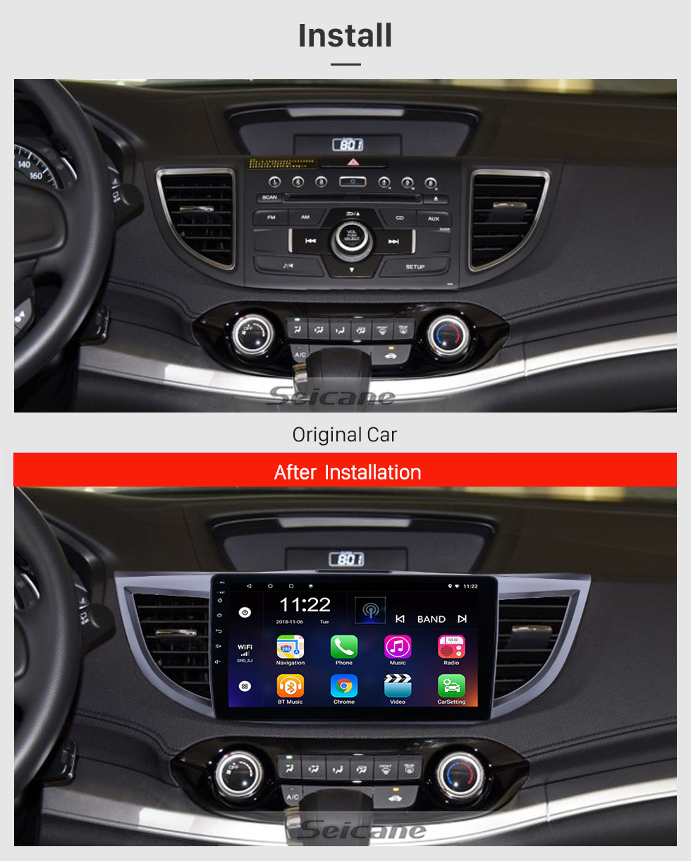 Seicane Android 8.1 10.1 inch 2011-2015 Honda CRV HD 1024*600 Touchscreen Radio GPS Navigation system with Bluetooth DVR WIFI Mirror Link 1080P Steering Wheel Control