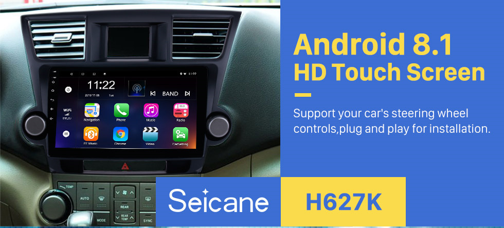 Seicane 10.1 inch Android 8.1 In Dash Bluetooth GPS Navigation System for 2014 2015 Toyota Highlander with HD 1024*600 Touch Screen 3G WiFi Radio RDS Mirror Link OBD2 Rearview Camera AUX USB SD Steering Wheel Control
