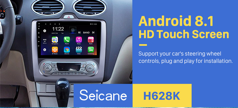 Seicane 9 Zoll HD Touchscreen Android 8.1 2004-2011 Ford Focus Exi AT Radio mit GPS Navigation WIFI Bluetooth USB Musik 1080P Video Spiegelverbindung Rückfahrkamera