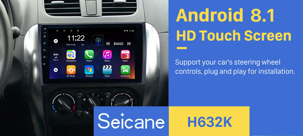 Seicane 9 inch HD Touchscreen Android 8.1 Radio GPS for 2006-2012 Suzuki SX4 with Bluetooth Music WIFI Audio system 1080P Video USB OBD2 Mirror Link DVR