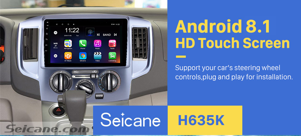 Seicane 9 Inch Android 8.1 HD 1024*600 Touchscreen Radio For 2009-2016 NISSAN NV200 GPS Navigation Car Stereo Bluetooth Support Mirror Link OBD2 AUX 3G WiFi DVR 1080P Video Steering Wheel Control