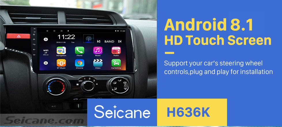 Seicane 9 inch 2014 Honda FIT Left Android 8.1 Radio DVD Player GPS Navigation System with 1024*600 Touchscreen Bluetooth 3G WIFI DVR Backup Camera DAB+ TPMS