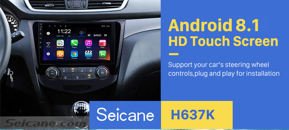 Seicane 10.1 inch 2012 2013 2014 2015 2016 2017 Nissan Qashqai Android 8.1 Radio GPS Navigation Support Bluetooth USB WIFI 1080P Video Mirror Link DVR Rearview Camera