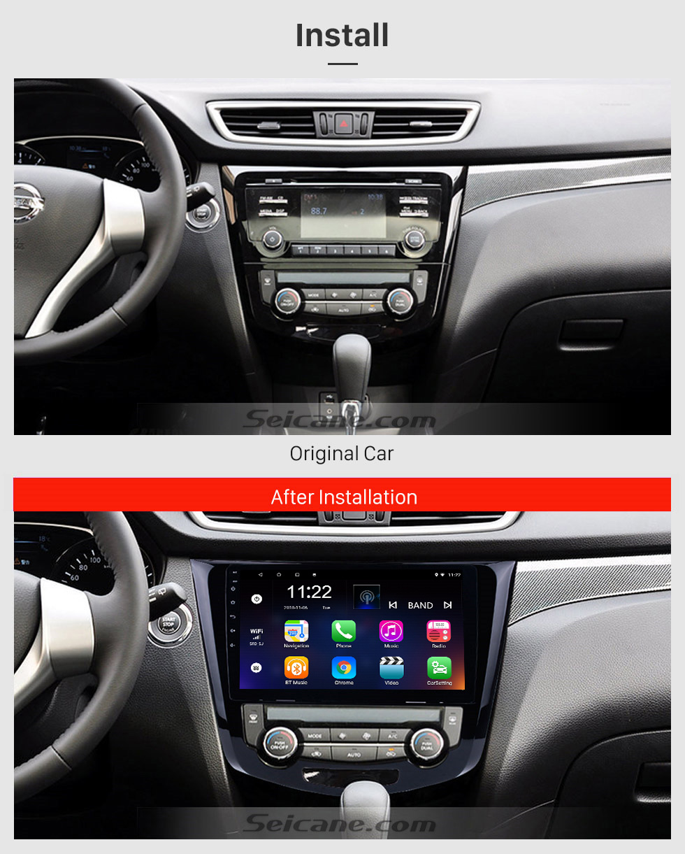 Seicane 10,1-дюймовый Android 8.1 2014 Nissan QashQai X-Trail Радио Bluetooth Aftermarket OEM Система GPS 3G WiFi TV Зеркальная связь USB SD Авто A / V Резервная камера